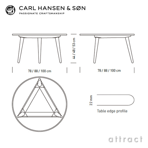 Carl Hansen & Son カールハンセン&サン CH008 コーヒーテーブル オーク ホワイトオイルフィニッシュ サイズ:Φ78cm×H44cm デザイン:ハンス・J・ウェグナー