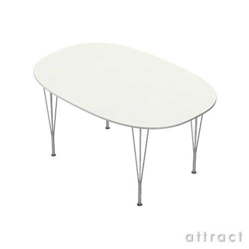 Fritz Hansen フリッツハンセン TABLE SERIES テーブルシリーズ B612 スーパー楕円テーブル:スパンレッグ テーブル高:72cm 天板:ラミネート:ホワイト (アルミ製フレーム)